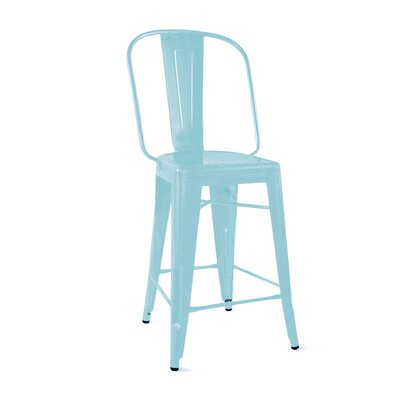 Despres Steel Counter 24 Bar Stool Color: Matte Cyan