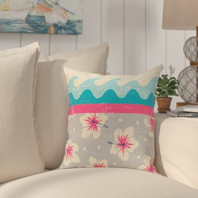 Golden Beach Floral Throw Pillow Size: 16 H x 16 W, Color: Pink