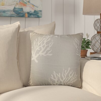 Martinique Coastal Cotton Throw Pillow Color: Gray