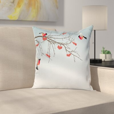 Bullfinch Birds Branches Square Pillow Cover Size: 16 x 16