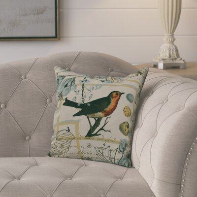 Aruba Sweet Tweets Throw Pillow Size: 26 H x 26 W, Color: Aqua
