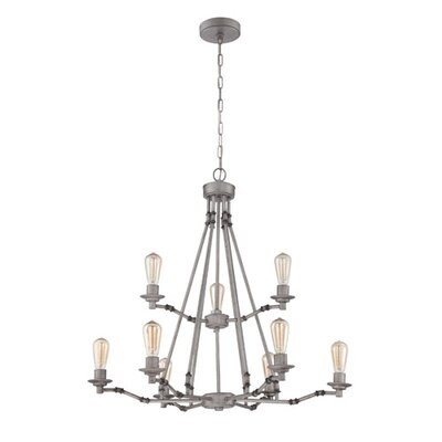 9-Light Candle-Style Chandelier Finish: Aged Galvanized