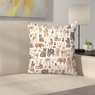 Elena ONeill Woodland Animals Throw Pillow Size: 18 x 18