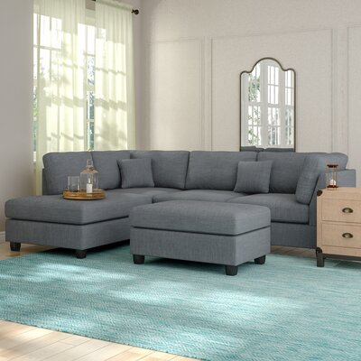 Hemphill Reversible Sectional with Ottoman Upholstery: Gray