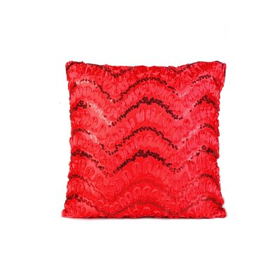 Wave Sequins Throw Pillow Color: Red