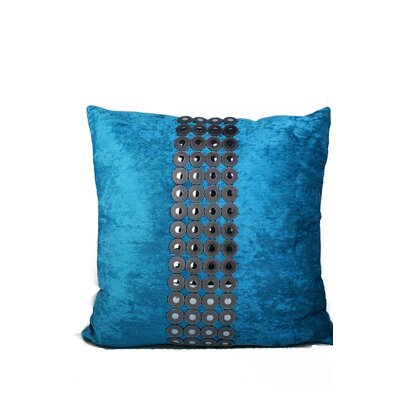 Velvet and Buttons Throw Pillow Color: Blue