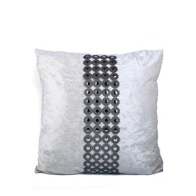 Velvet and Buttons Throw Pillow Color: White