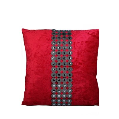 Velvet and Buttons Throw Pillow Color: Red