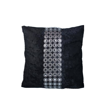 Velvet and Buttons Throw Pillow Color: Black