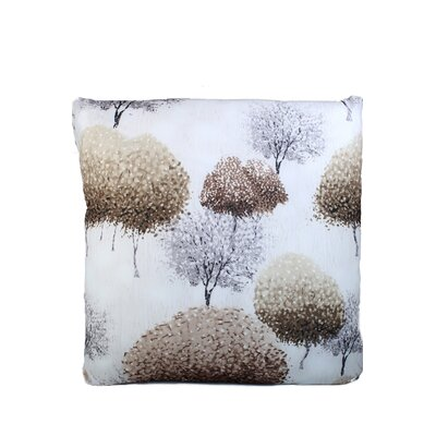 Inky Trees Print Throw Pillow Color: Khaki