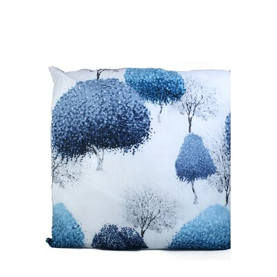 Inky Trees Print Throw Pillow Color: Blue