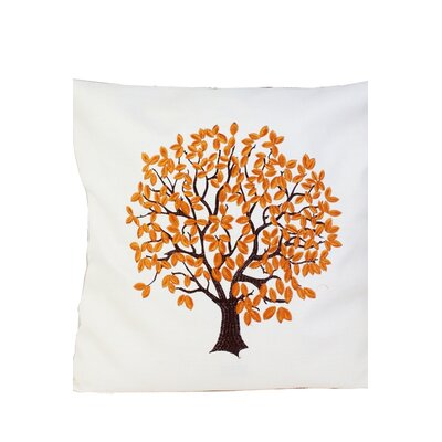Life Tree Embroidery Throw Pillow Color: Gold, Size: 20 x 20
