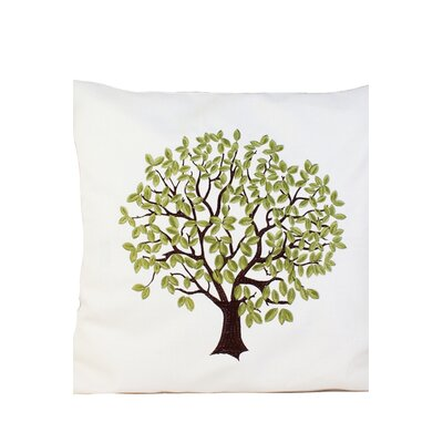 Life Tree Embroidery Throw Pillow Color: Green, Size: 17 x 17