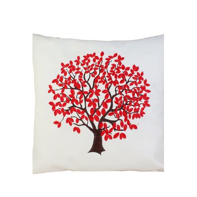 Life Tree Embroidery Throw Pillow Color: Red, Size: 20 x 20