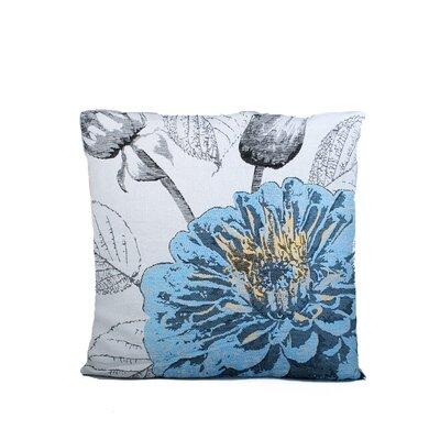 Edicott Blossom Print Throw Pillow Color: Blue
