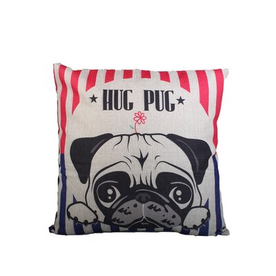 Hug Pug Print Throw Pillow