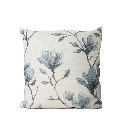Magnolia Print Throw Pillow Color: Gray