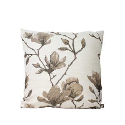 Magnolia Print Throw Pillow Color: Taupe