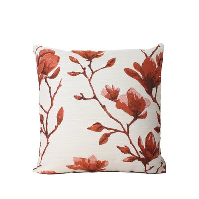 Magnolia Print Throw Pillow Color: Dark Orange