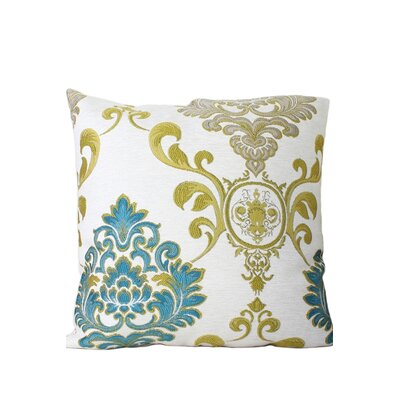Wallpaper Throw Pillow Color: Green/Blue