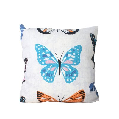 Newbold Butterfly Print Throw Pillow Color: Blue/Pink/Orange