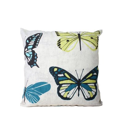 Newbold Butterfly Print Throw Pillow Color: Blue/Green