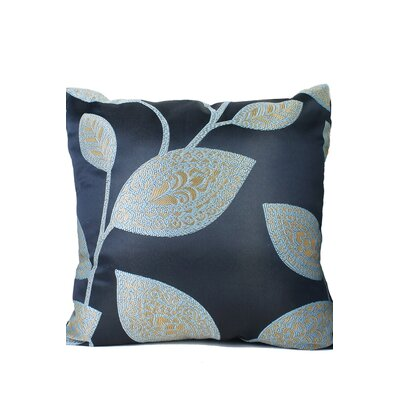 Leaves Print Throw Pillow Color: Navy Blue/Beige