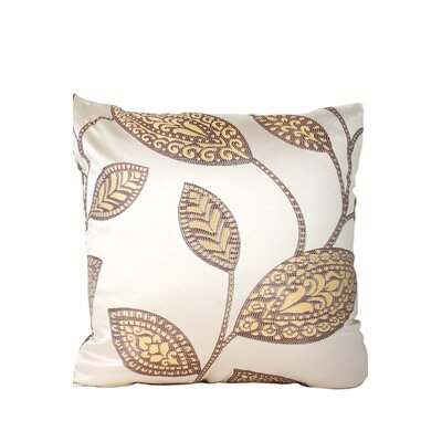 Leaves Print Throw Pillow Color: Beige/Brown