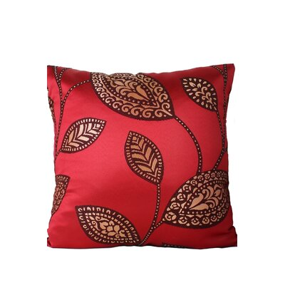 Leaves Print Throw Pillow Color: Red/Brown