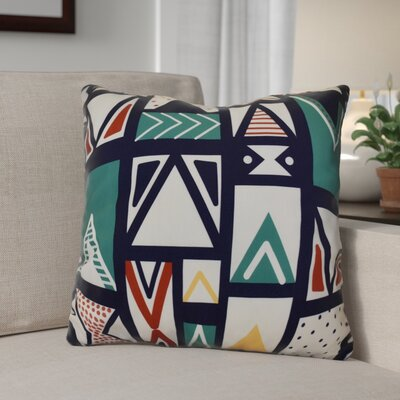 Decorative Geometric Throw Pillow Size: 26 H x 26 W, Color: Navy Blue