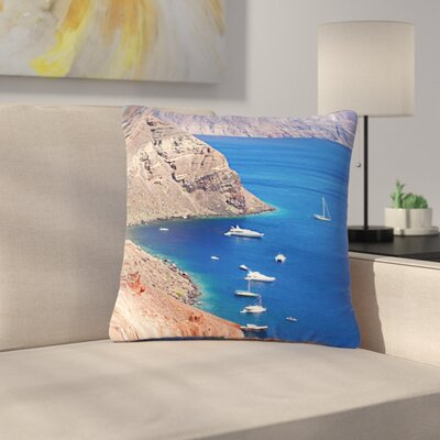 Sylvia Coomes Santorini Coastline Outdoor Throw Pillow Size: 18 H x 18 W x 5 D