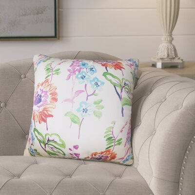 Hepatique Floral Cotton Throw Pillow Color: White