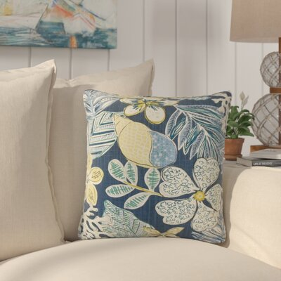 Hannatou Floral Cotton Throw Pillow Color: Indigo