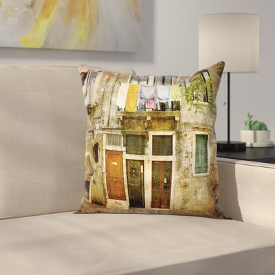 Venice Grunge Building Facade Square Pillow Cover Size: 24 x 24