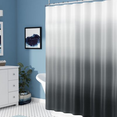 Charlesworth Waffle Fabric Weave Shower Curtain Color: Dark Grey