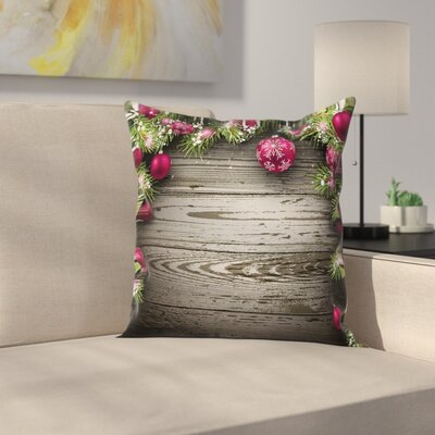 Christmas Rustic Balls Branch Square Pillow Cover Size: 24 x 24