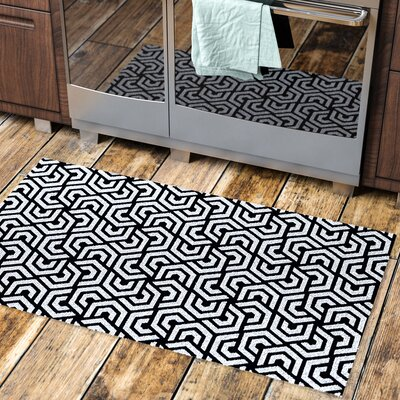 Oberle All Weather Runner Kitchen Mat Mat Size: Rectangle 22 W x 67 L, Color: Graphite Rosette