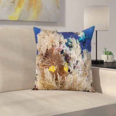 Underwater Fish Ocean Nautical Square Pillow Cover Size: 16