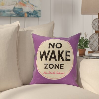 Golden Beach Nap Zone Word Throw Pillow Size: 18 H x 18 W, Color: Purple