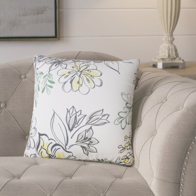 Goodrich Floral Down Filled 100% Cotton Throw Pillow Size: 24 x 24, Color: Metal