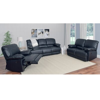 Coyer 3 Piece Living Room Set Upholstery: Black