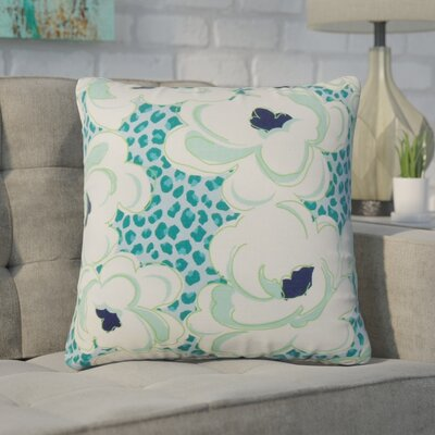 Wolford Floral Cotton Throw Pillow Color: Aquamarine