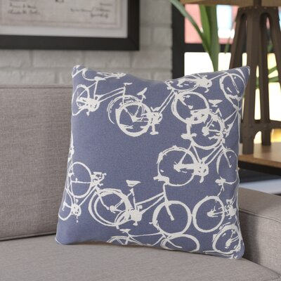 Ellen Bicycle Print Throw Pillow Size: 18 H x 18 W x 4 D, Color: Navy / Ivory, Filler: Down