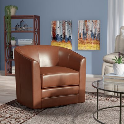 Morefield Swivel Barrel Chair Upholstery: Saddle Brown
