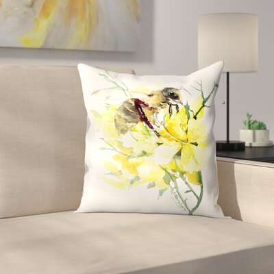 Honey Bee 4 Throw Pillow Size: 16 x 16