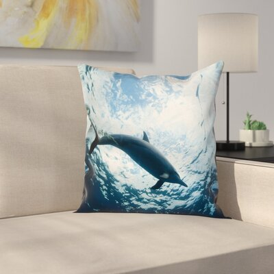 Animal Print Swimming Dolphin Square Pillow Cover Size: 16 x 16