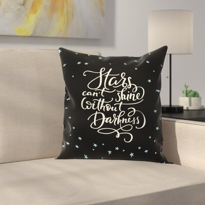Inspirational Night Sky Quote Square Pillow Cover Size: 16 x 16