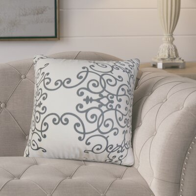 Markes Modern Floral Cotton Throw Pillow Color: White Gray