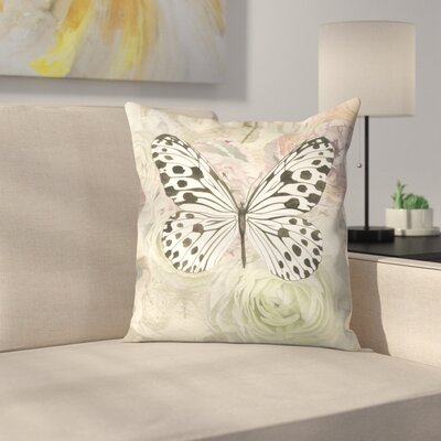 White and Black Butterfly and Ranunculus Throw Pillow Size: 16 x 16