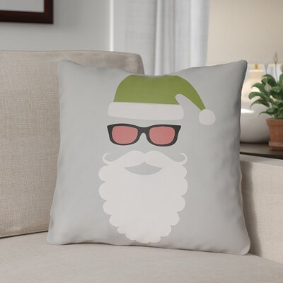 Cool Santa Outdoor Throw Pillow Size: 18 H x 18 W x 4 D, Color: Gray / White / Red / Green / Black